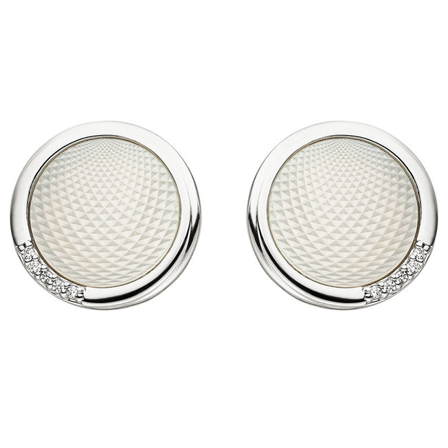Silver earstuds with mother of pearl and zirconia