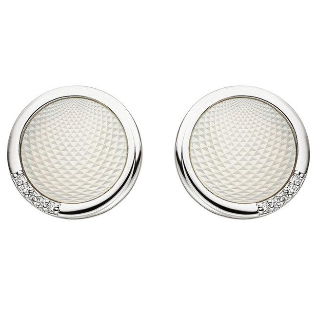 Zilveren oorstekers met parelmoer en zirkonia