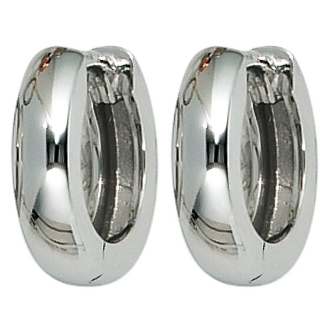 White gold creoles 585 earrings 12 mm