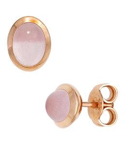 Aurora Patina Rood gouden oorstekers met rozenkwarts cabochons