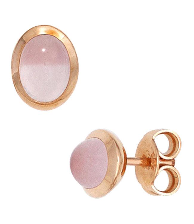 Aurora Patina Rood gouden oorstekers met rozenkwarts cabochons 14 karaat