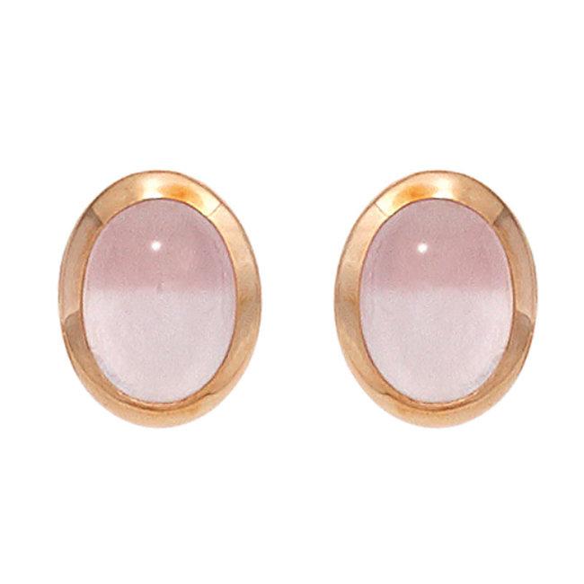 Rood gouden oorstekers met rozenkwarts cabochons 14 karaat