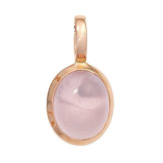 Aurora Patina Red gold pendant with rose quartz cabochon