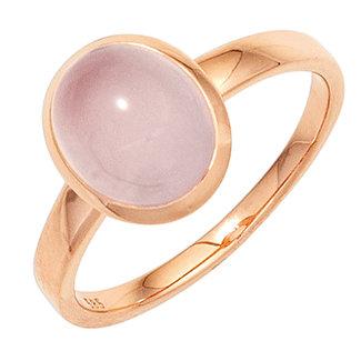 Aurora Patina Rood gouden ring met rozenkwarts cabochon