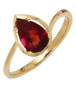 Aurora Patina Gouden ring met granaat druppel