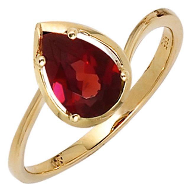 Gouden ring 14 karaat (585) met rode granaat