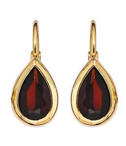 Aurora Patina Gouden oorbellen met granaten 375