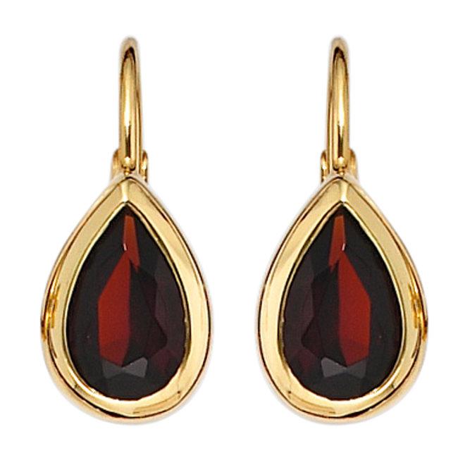 Gouden oorbellen 9 karaat (375) met rode granaten