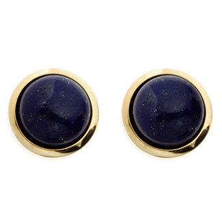 Aurora Patina Gold stud earrings with lapis lazuli 14 ct