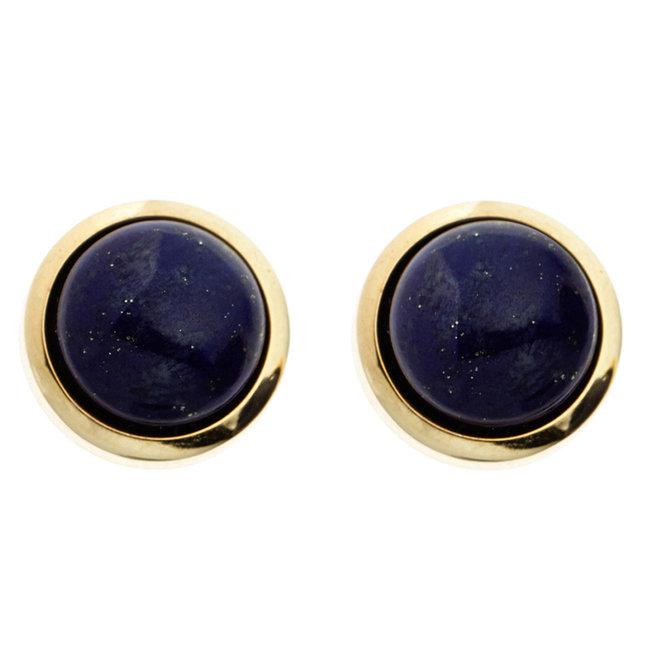 Gouden oorknopjes met blauwe lapis lazuli 14 karaat (585)