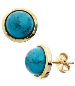Aurora Patina Gouden oorknopjes met turquoise 14kt