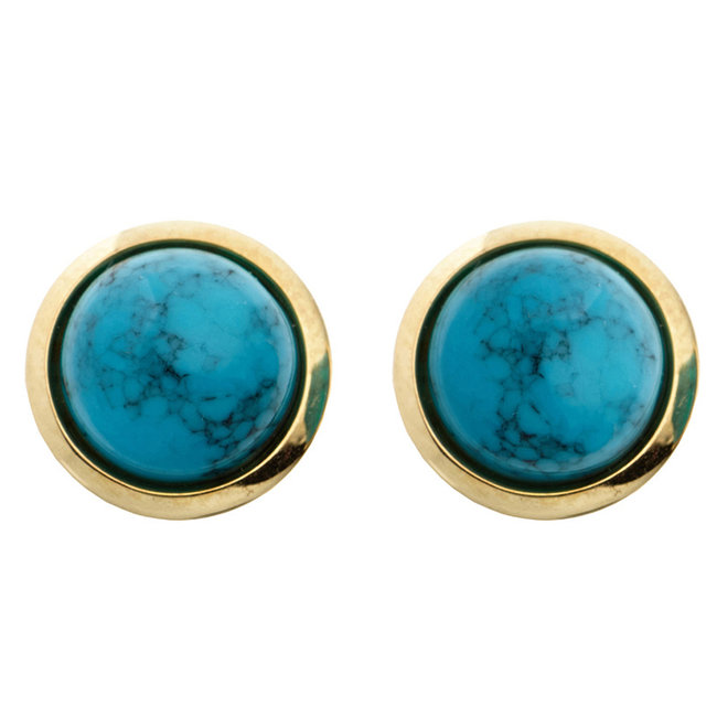 Aurora Patina Golden ear studs with turquoise 14kt