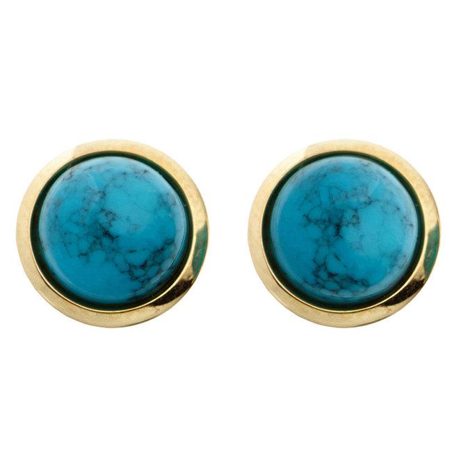 Gouden oorknopjes met turquoise 14 karaat (585)