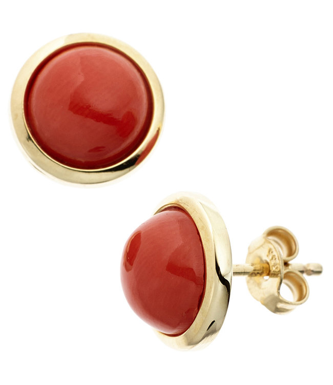 Aurora Patina Gold earstuds with coral 14 carats (585)