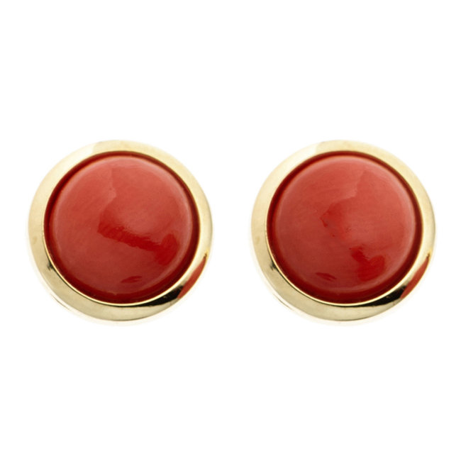 Aurora Patina Golden ear studs with coral 14kt