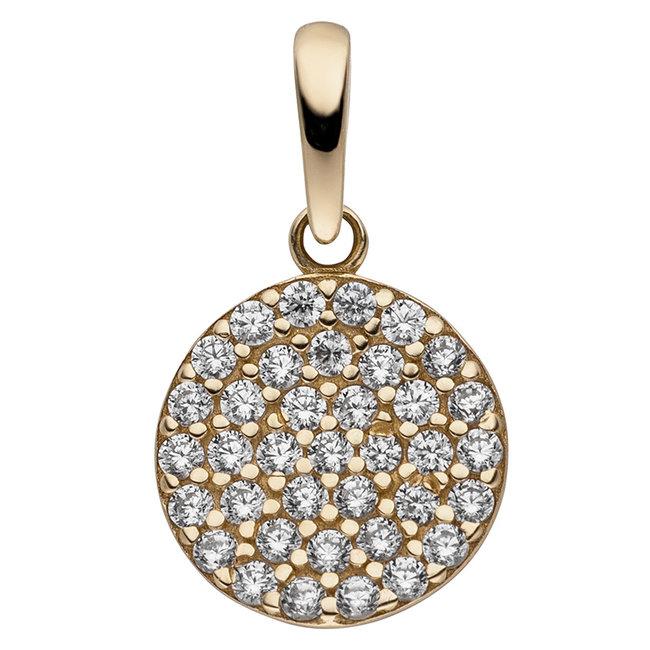 Golden pendant (333) with zirconia round