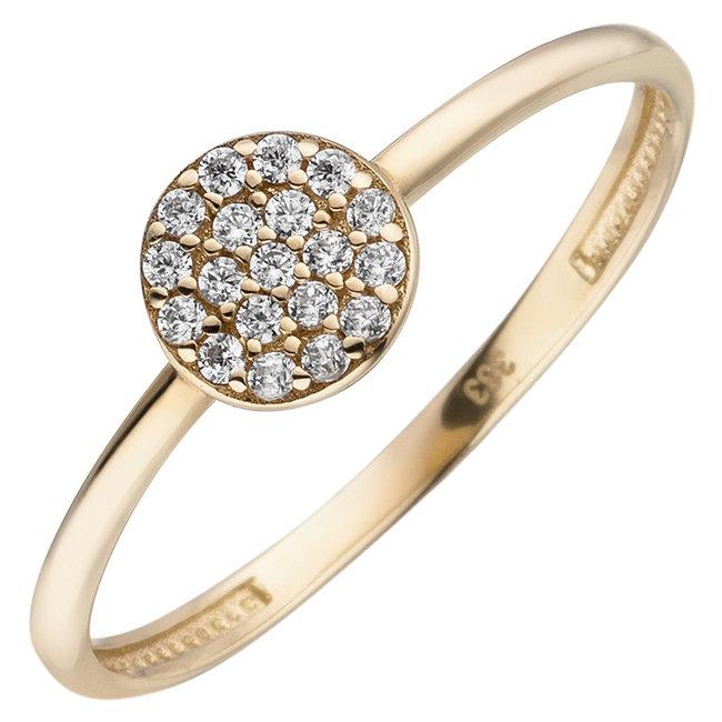 Aurora Patina Gouden ring met zirkonia rond