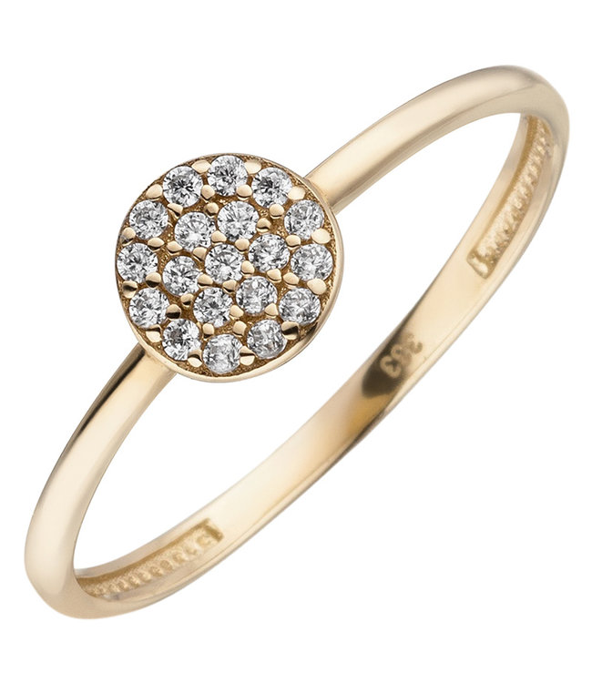 Aurora Patina Golden ring (333) with zirconia round
