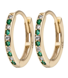 Aurora Patina Golden creoles with zirconia green