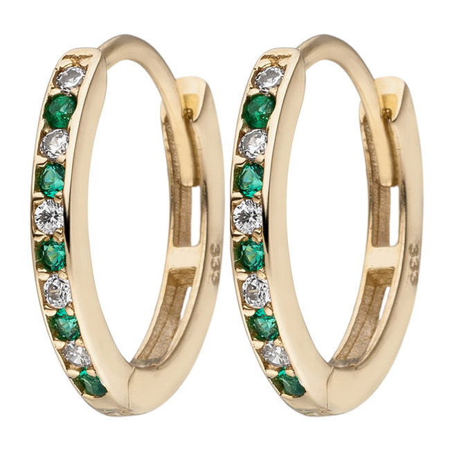 Oval golden creoles with zirconia in white and green