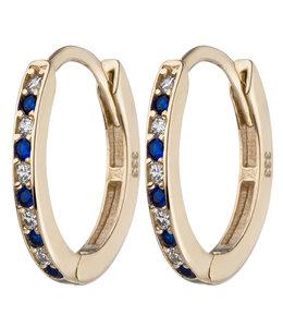 Aurora Patina Gouden creolen met zirkonia blauw
