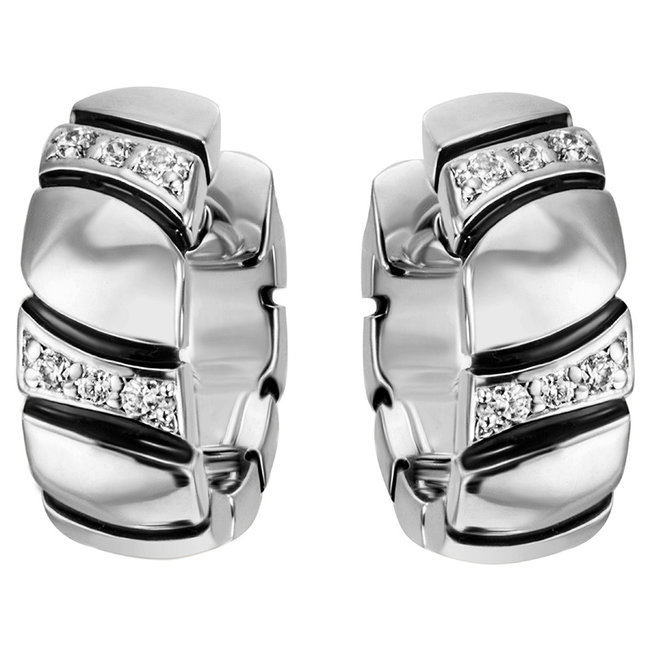 Sterling silver creoles (925) with zirconias