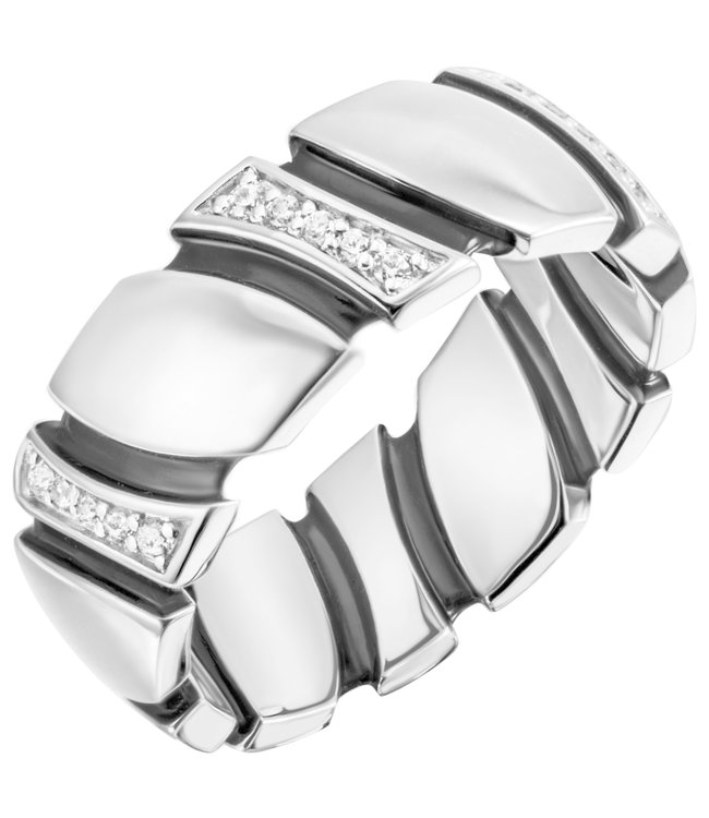 Aurora Patina Silver ring with 30 zirconias partially lacquered