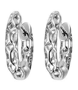 Aurora Patina Zilveren creolen met opengewerkt motief