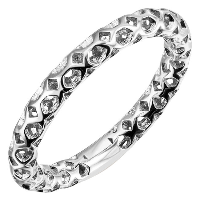 Silver ring with open design