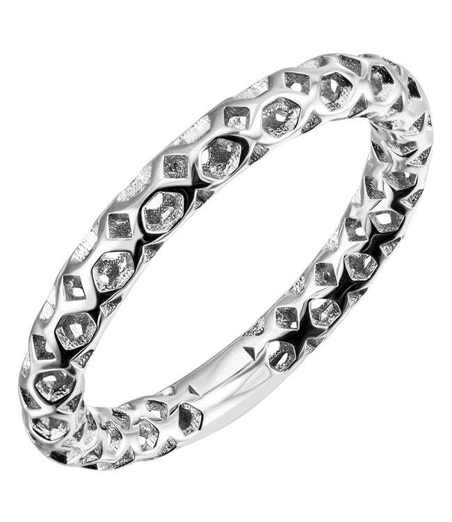Aurora Patina Zilveren ring met opengewerkt design