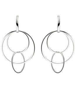 Aurora Patina Silberhalbcreolen mit großen Ringen