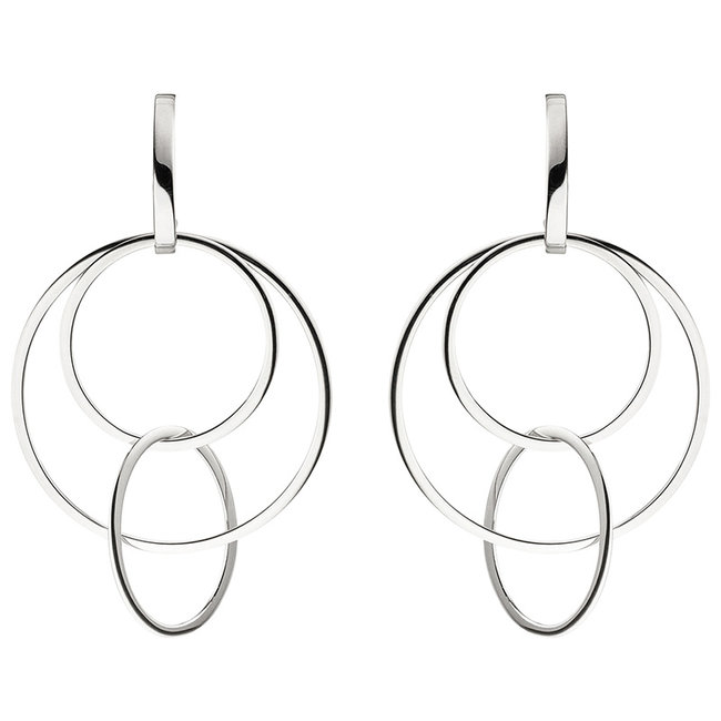Sterling silver half creoles (925) with large rings