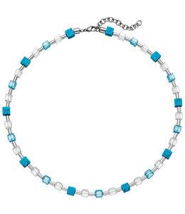 Aurora Patina Edelstaal collier kristal, turquoise en hematiet