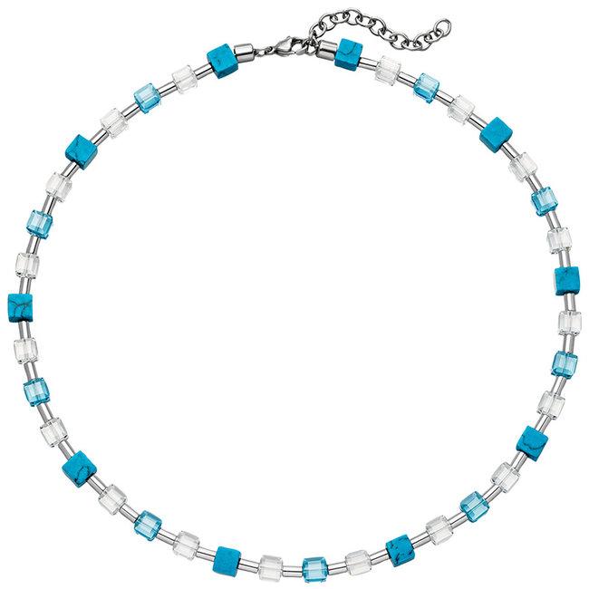 Edelstaal collier met kristal, turquoise en hematiet 43 - 48 cm