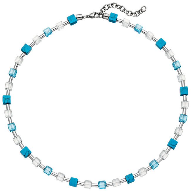 Stainless steel necklace with crystal, turquoise and hematite 43 - 48 cm