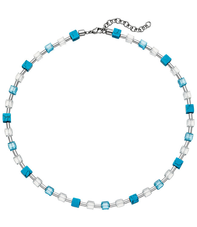 Aurora Patina Stainless steel necklace with crystal, turquoise and hematite 43 - 48 cm