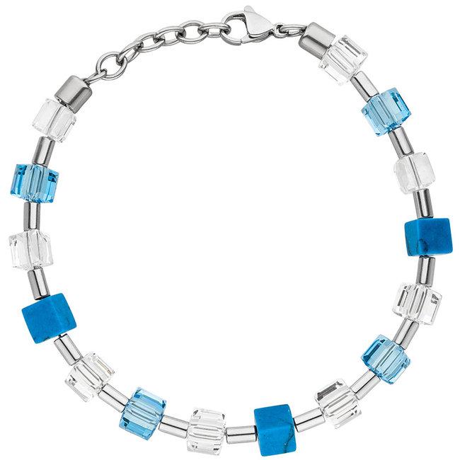 Edelstaal armband met kristal, turquoise en hematiet 19 - 21 cm