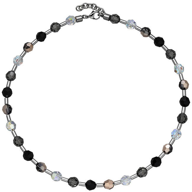 Stainless steel necklace with crystals and gemstones 42- 45 cm