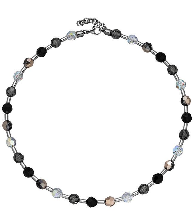 Aurora Patina Edelstaal collier met kristal en edelsteen 42- 45 cm