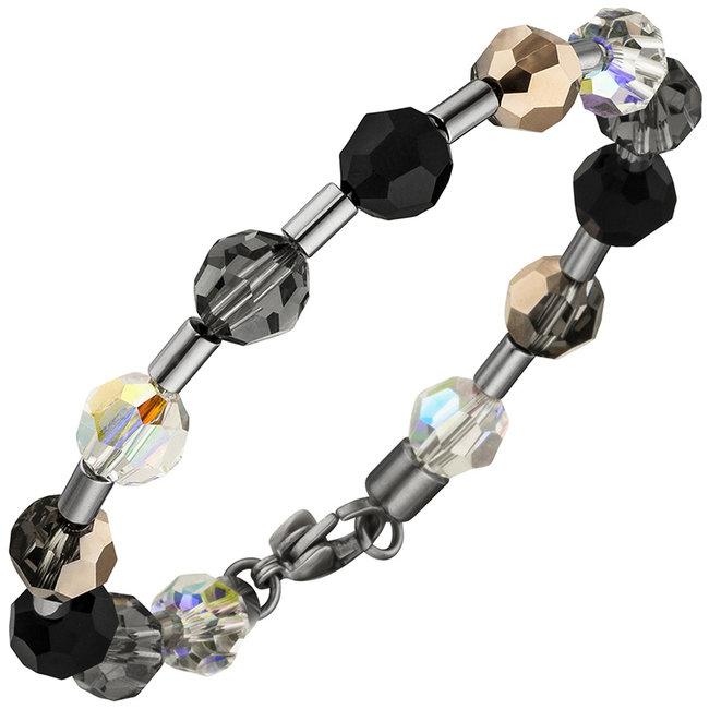 Edelstaal armband met kristal en edelsteen 19 cm