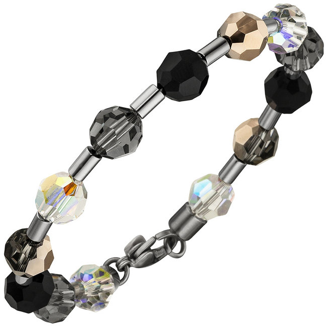 Stainless steel bracelet with crystals and gemstones 19 cm