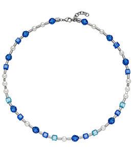 Aurora Patina Edelstahlhalskette mit blauem Kristall und Perlen