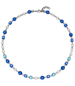 Aurora Patina Stainless steel necklace blue crystal and pearls