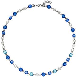 Aurora Patina Edelstaal collier blauw kristal en parels