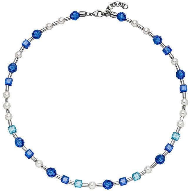 Edelstaal collier met blauw kristal en parels 44- 47 cm