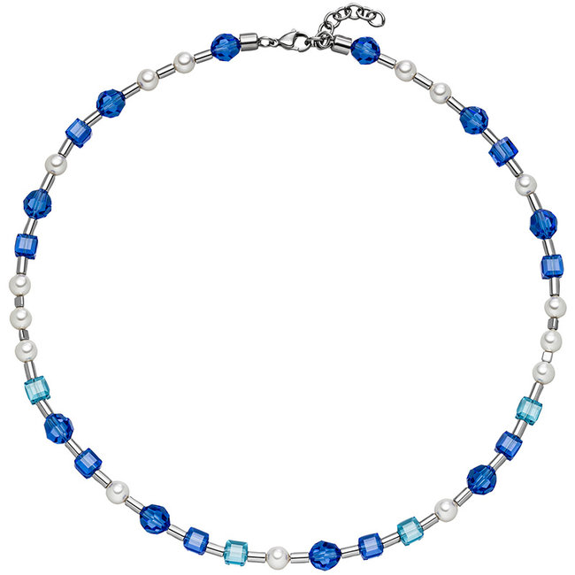 Stainless steel necklace blue crystal and pearls 44- 47 cm
