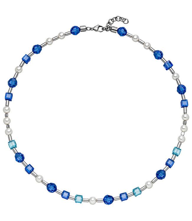 Aurora Patina Edelstaal collier met blauw kristal en parels 44- 47 cm
