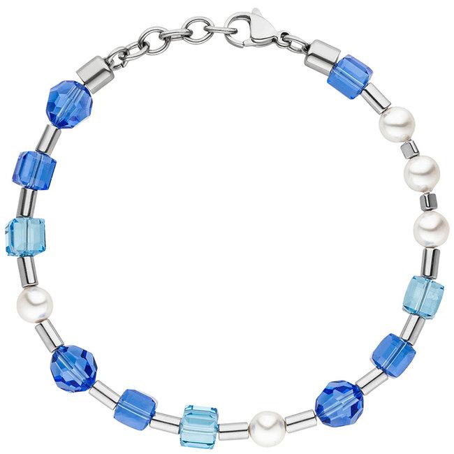 Edelstaal armband met blauw kristal en parels 19- 21 cm