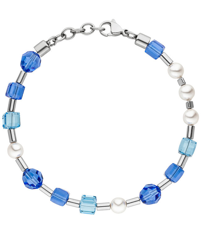 Aurora Patina Stainless steel bracelet  blue crystal and pearls 19- 21 cm