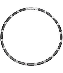 Aurora Patina Edelstaal collier zwart keramiek en zirkonia